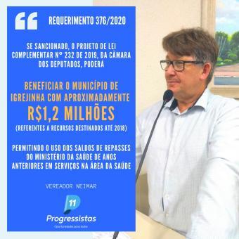 Vereador Neimar solicita que Projeto de Lei Federal seja sancionado pelo Presidente.