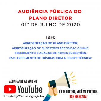 Quarta Audiência Pública da atualização do Plano Diretor será realizada no dia 01 de julho